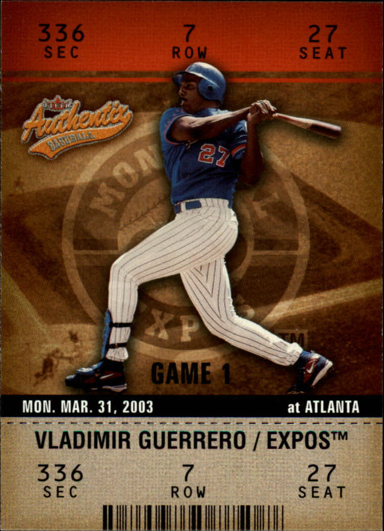 2003 Fleer Authentix #36 Vladimir Guerrero