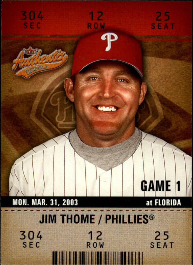 2003 Fleer Authentix #58 Jim Thome