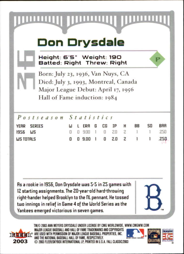 2003 Fleer Fall Classics #36A Don Drysdale Brooklyn back image