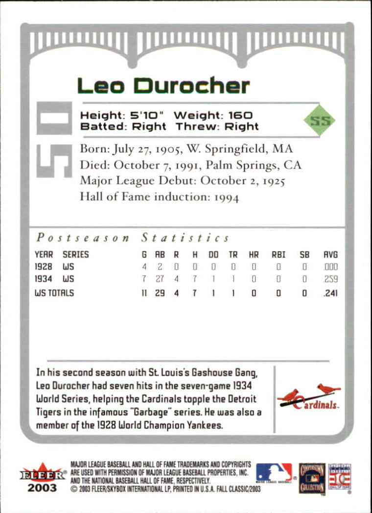 2003 Fleer Fall Classics #50A Leo Durocher Cards back image