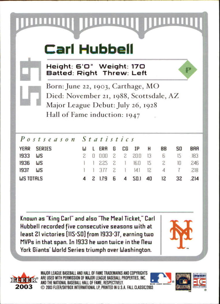 2003 Fleer Fall Classics #59 Carl Hubbell