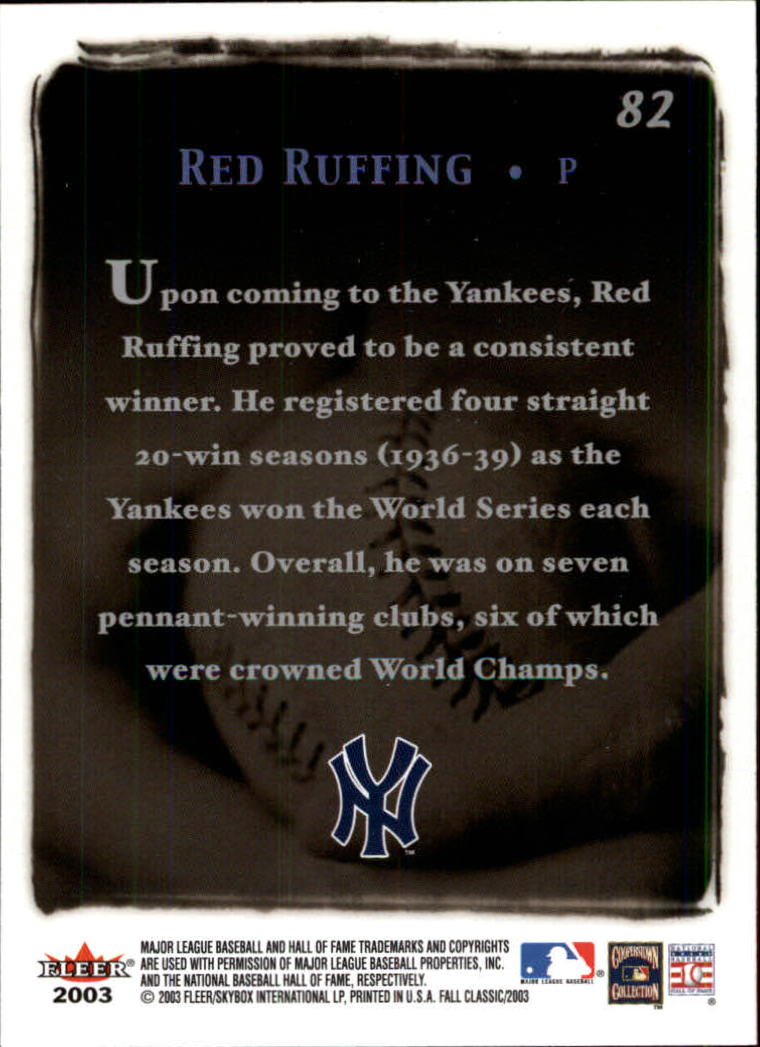 2003 Fleer Fall Classics #82 Red Ruffing GC back image