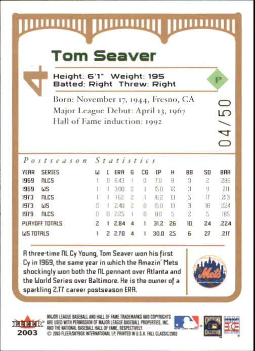 2003 Fleer Fall Classics Championship Gold #4 Tom Seaver back image