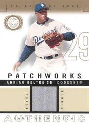 2003 Fleer Patchworks Game-Worn Patch Level 1 Single #AB Adrian Beltre
