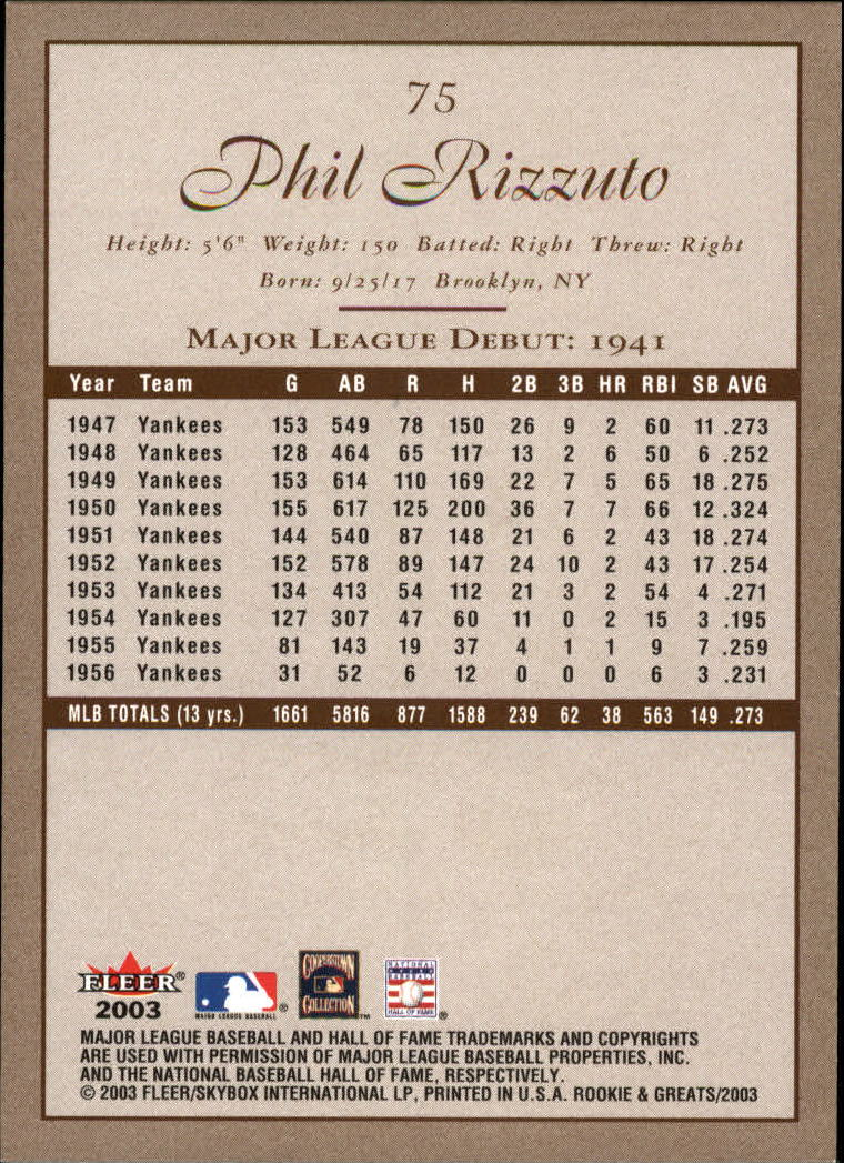 2003 Fleer Rookies and Greats #75 Phil Rizzuto GR back image