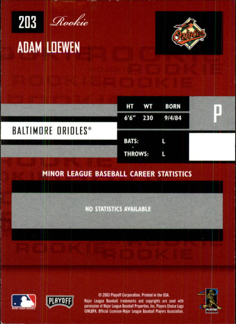 2003 Playoff Prestige #203 Adam Loewen ROO RC back image