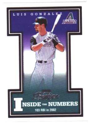 2003 Playoff Prestige Inside the Numbers #22 Luis Gonzalez
