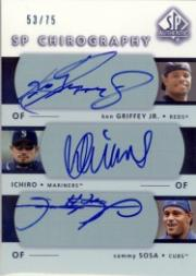 2003 SP Authentic Chirography Triples #GIS Grif/Ichiro/Sosa/75