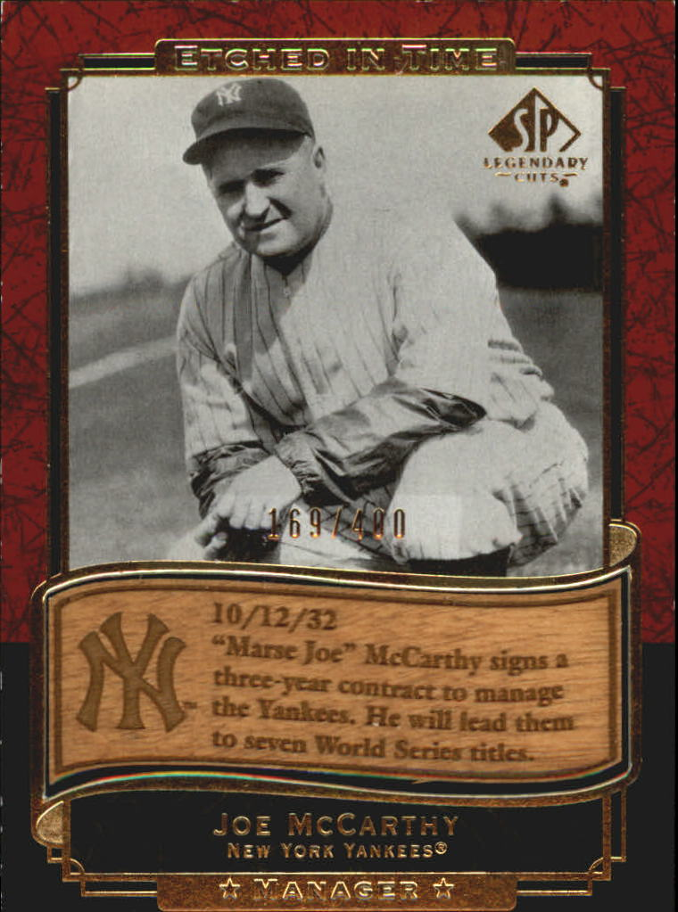 2003 SP Legendary Cuts Etched in Time 400 #JM Joe McCarthy
