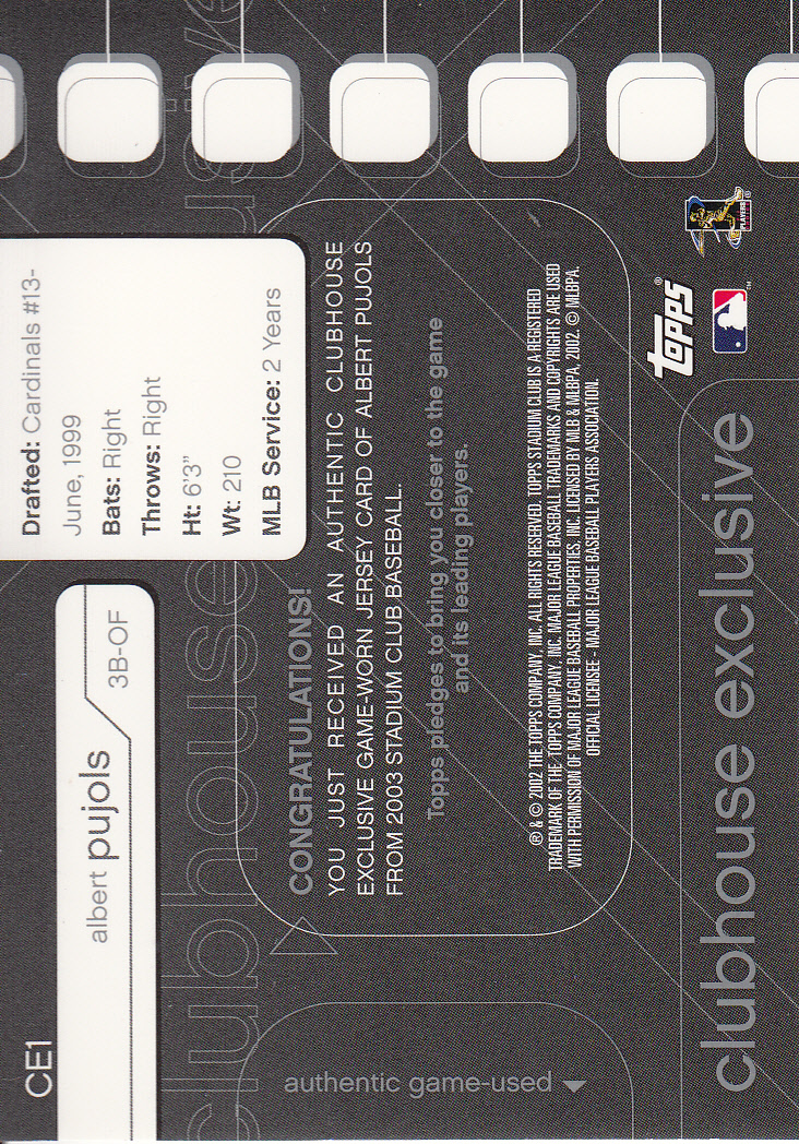 2003 Stadium Club Clubhouse Exclusive #CE1 Albert Pujols Jsy back image