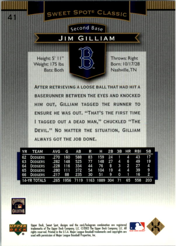 2003 Sweet Spot Classics #41 Jim Gilliam back image