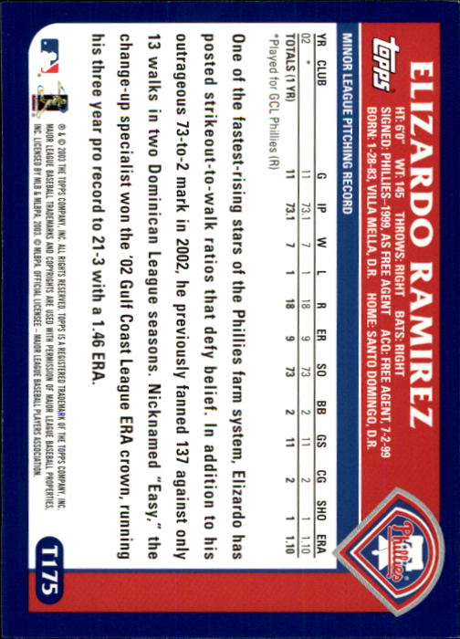 2003 Topps Traded #T175 Elizardo Ramirez FY RC back image