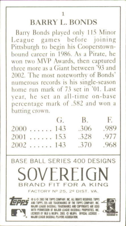 2003 Topps 205 Sovereign #1A Barry Bonds w/Cap back image