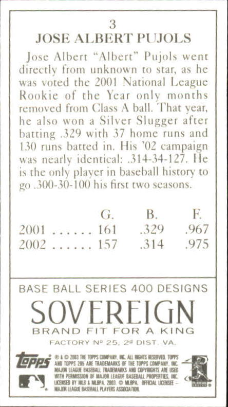 2003 Topps 205 Sovereign #3A Albert Pujols Clear Logo back image