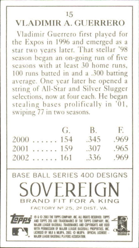 2003 Topps 205 Sovereign #15A Vlad Guerrero Clear Logo back image