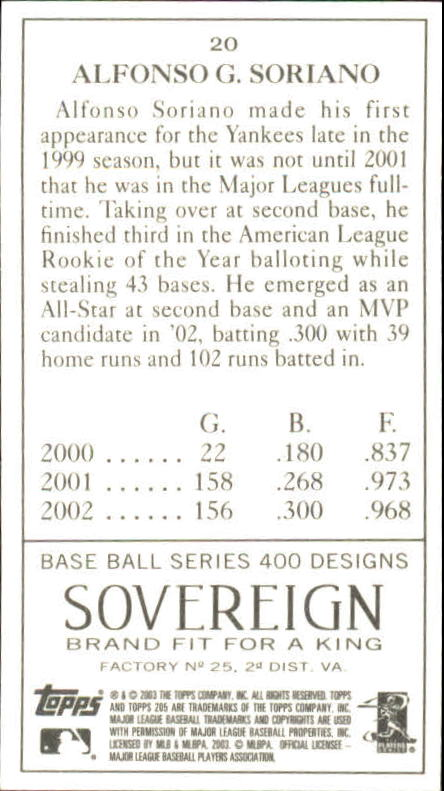 2003 Topps 205 Sovereign #20A Alfonso Soriano w/Bat back image