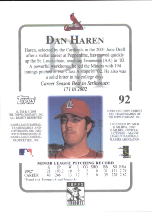 2003 Topps Tribute Contemporary #92 Dan Haren FY RC back image