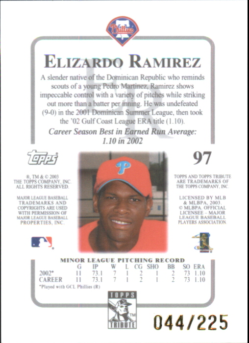 2003 Topps Tribute Contemporary Red #97 Elizardo Ramirez FY back image