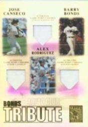 2003 Topps Tribute Contemporary Bonds Tribute 40-40 Club Relics #CBR Jose Canseco Uni/Barry Bonds Uni/Alex Rodriguez Uni