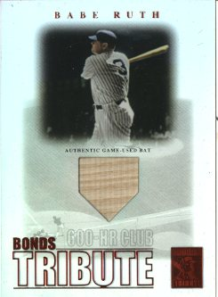 2003 Topps Tribute Contemporary Bonds Tribute 600 HR Club Relics Red #BR Babe Ruth Bat