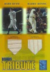 2003 Topps Tribute Contemporary Bonds Tribute 600 HR Club Double Relics Gold #RB Babe Ruth Bat/Barry Bonds Bat