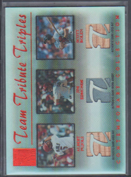 2003 Topps Tribute Contemporary Team Triple Relics Red #PER Albert Pujols Bat/Jim Edmonds Jsy/Scott Rolen Bat