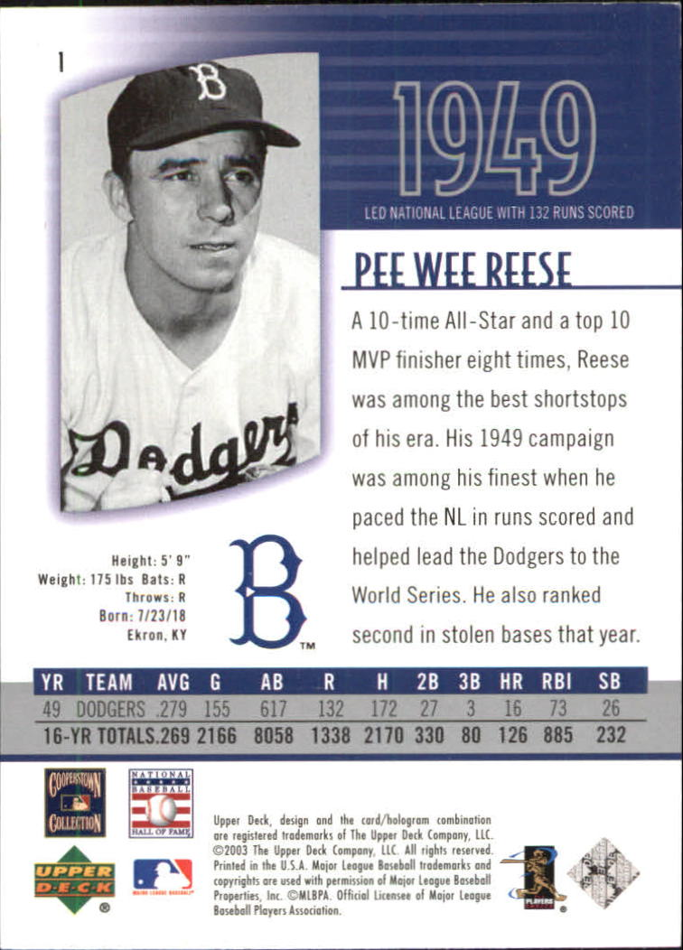 2003 UD Authentics #1 Pee Wee Reese back image
