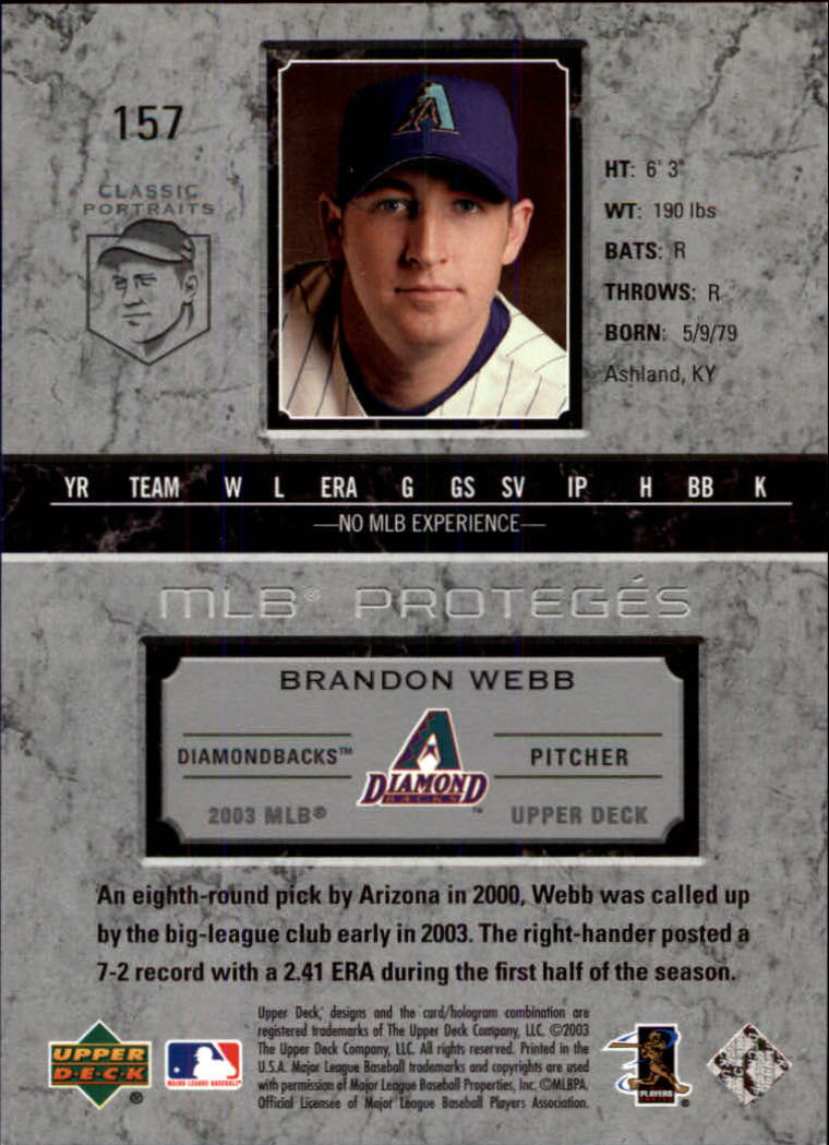 2003 Upper Deck Classic Portraits #157 Brandon Webb MP RC back image