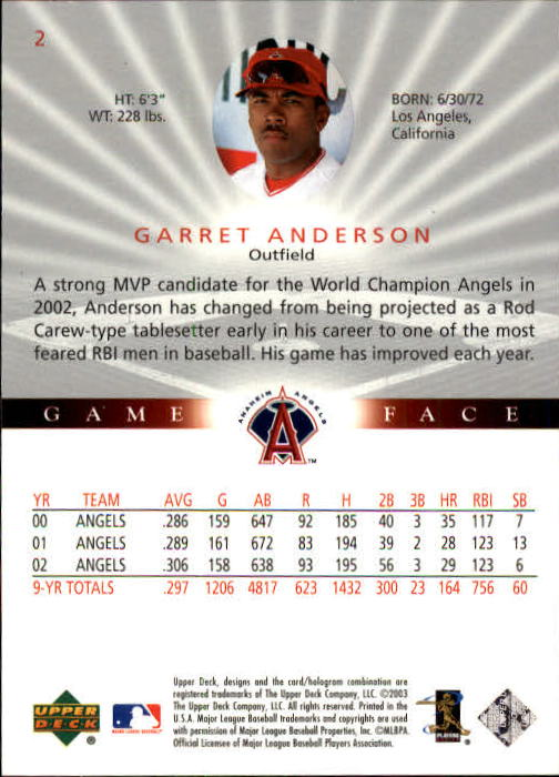 2003 Upper Deck Game Face #2 Garret Anderson back image