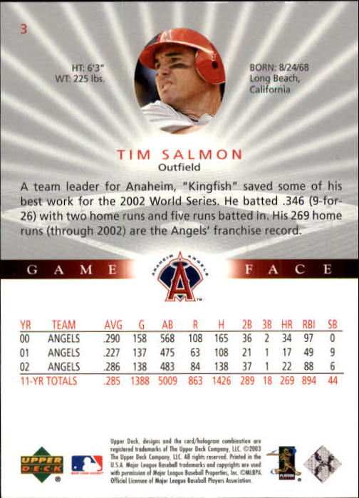 2003 Upper Deck Game Face #3 Tim Salmon back image
