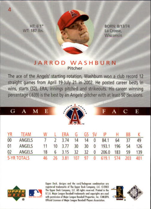 2003 Upper Deck Game Face #4 Jarrod Washburn back image