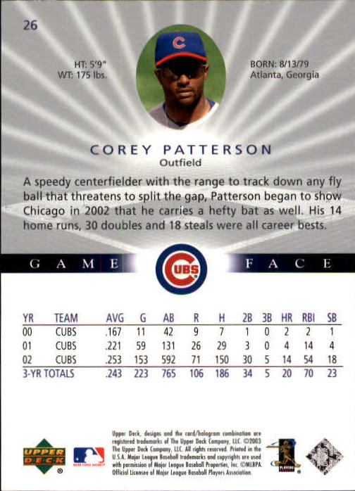 2003 Upper Deck Game Face #26 Corey Patterson back image
