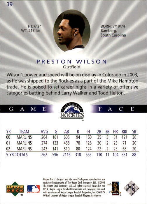 2003 Upper Deck Game Face #39 Preston Wilson back image