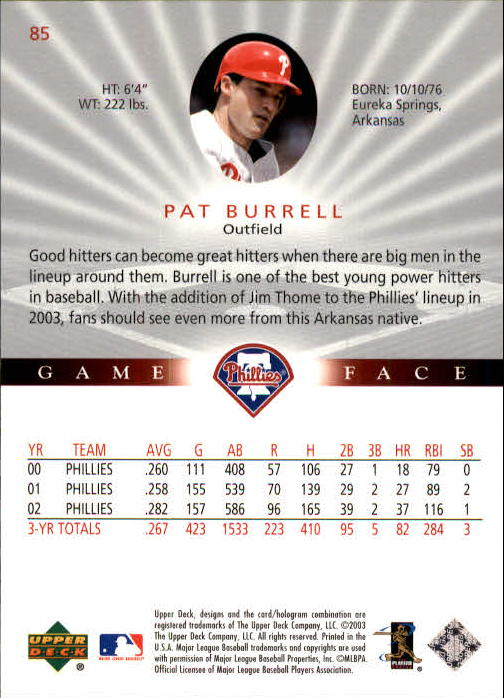 2003 Upper Deck Game Face #85 Pat Burrell back image