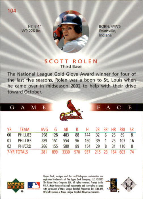 2003 Upper Deck Game Face #104 Scott Rolen back image