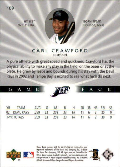 2003 Upper Deck Game Face #109 Carl Crawford back image