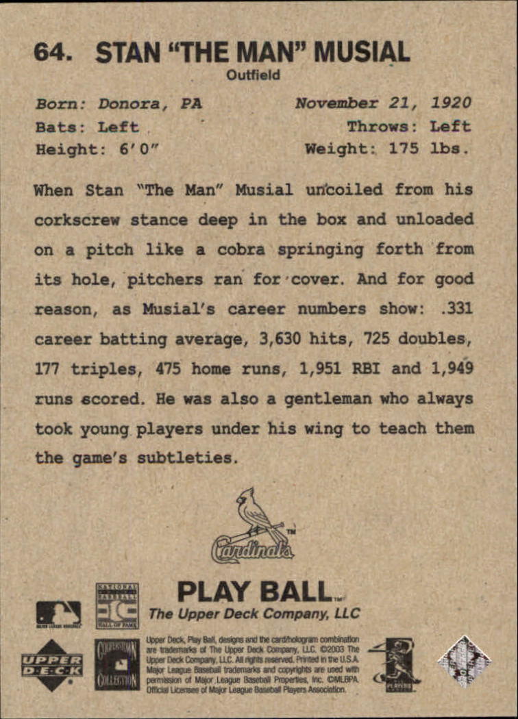 2003 Upper Deck Play Ball #64 Stan Musial back image