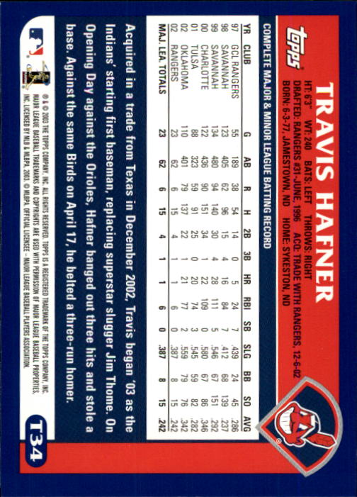 2003 Topps Chrome Traded #T34 Travis Hafner back image