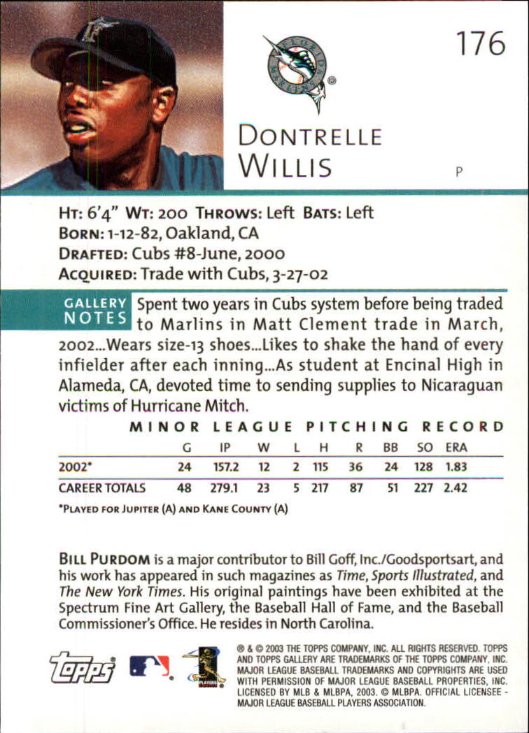 2003 Topps Gallery #176 Dontrelle Willis PROS back image