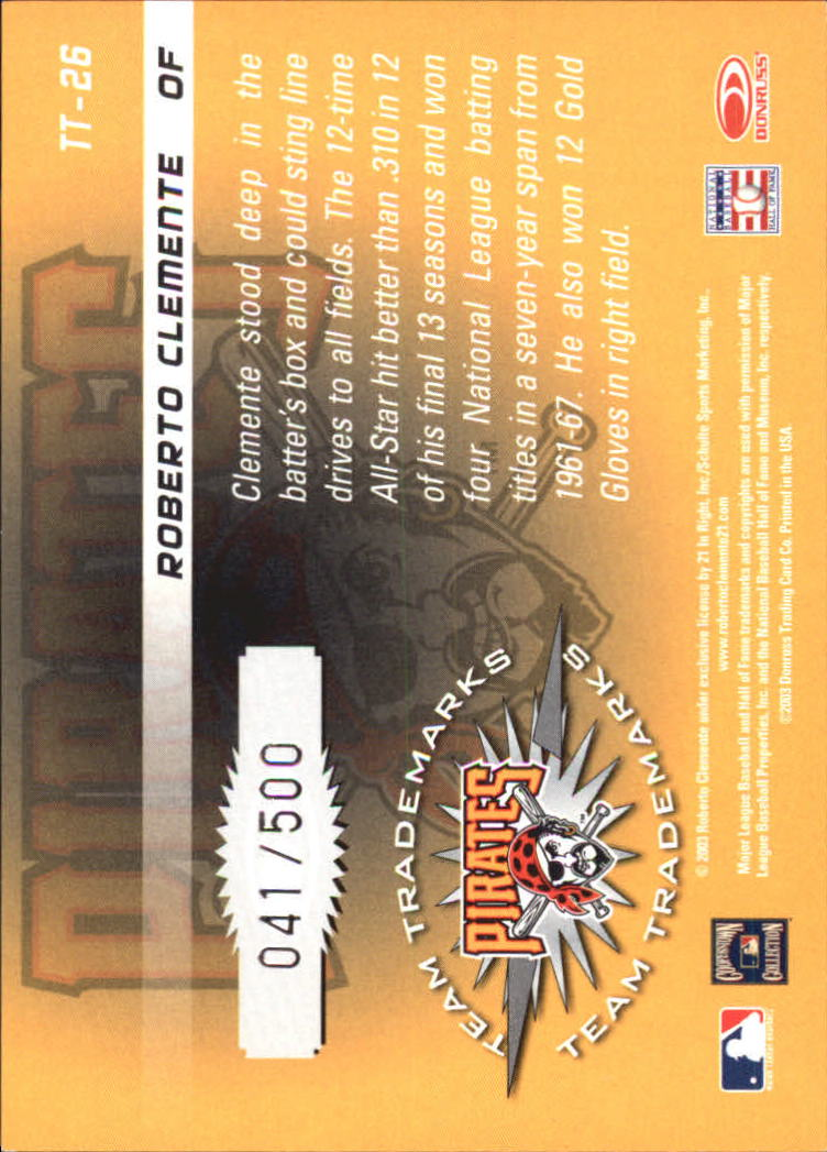 2003 Donruss Signature Team Trademarks #26 Roberto Clemente back image