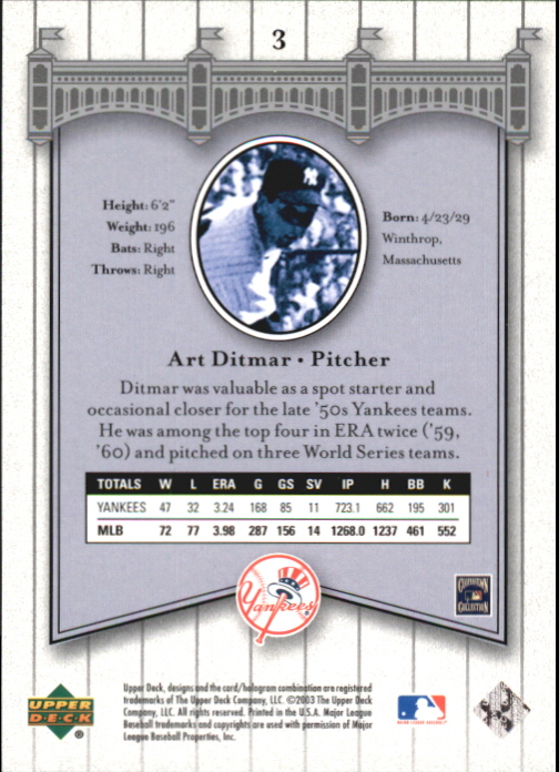 2003 Upper Deck Yankees Signature #3 Art Ditmar