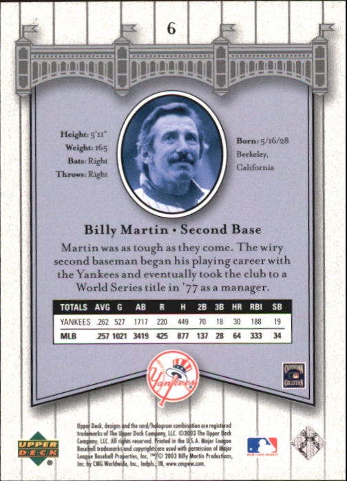2003 Upper Deck Yankees Signature #6 Billy Martin back image