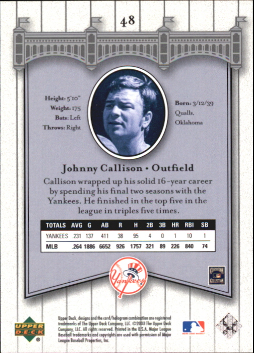 2003 Upper Deck Yankees Signature #48 Johnny Callison back image