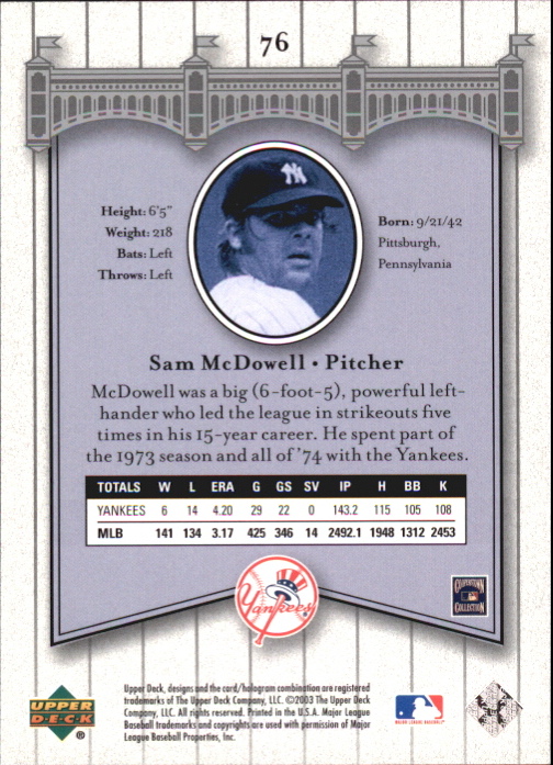 2003 Upper Deck Yankees Signature #76 Sam McDowell back image