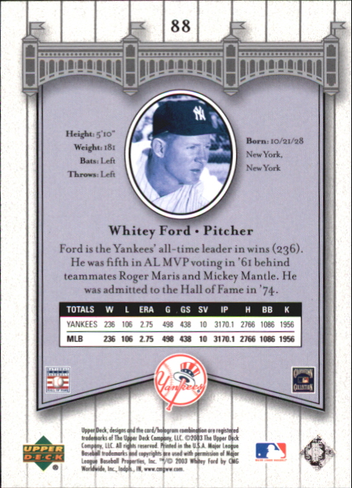 2003 Upper Deck Yankees Signature #88 Whitey Ford back image