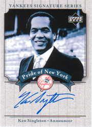 2003 Upper Deck Yankees Signature Pride of New York Autographs #KS Ken Singleton