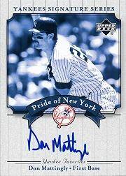 2003 Upper Deck Yankees Signature Pride of New York Autographs #MA Don Mattingly