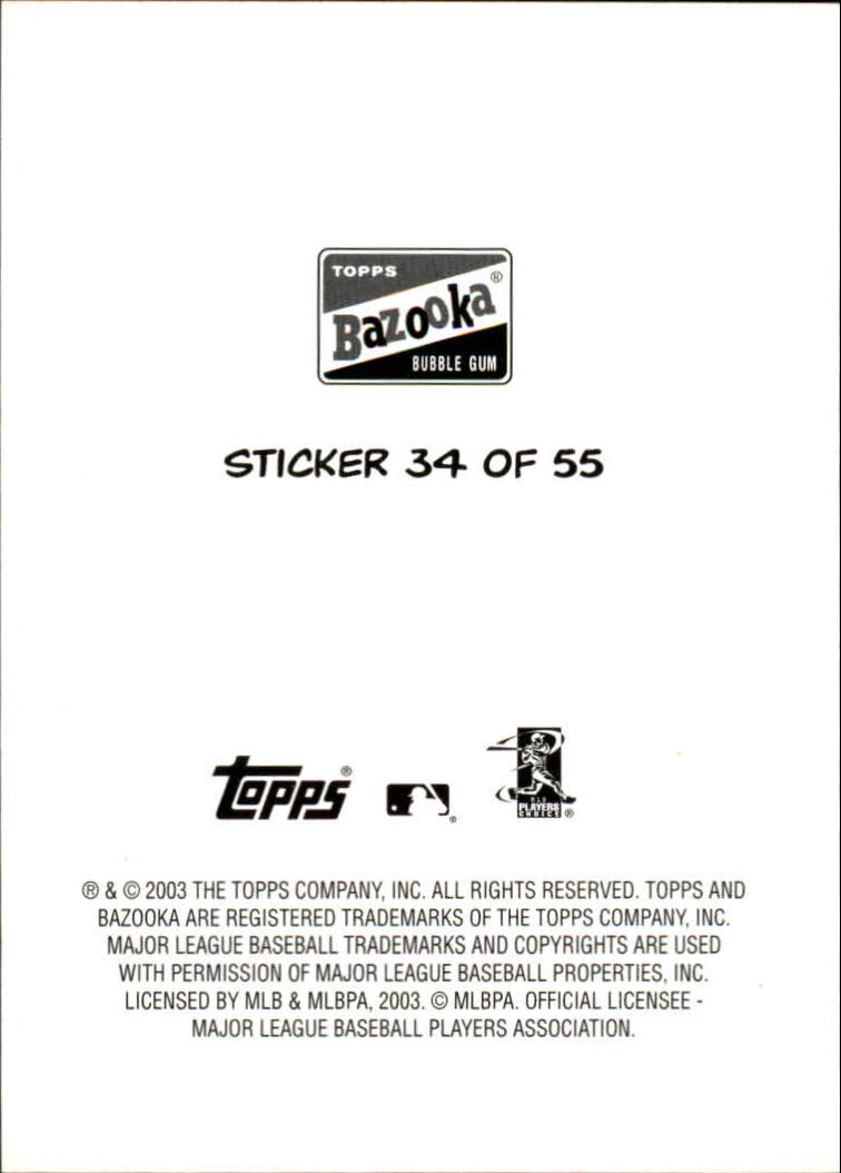 2003 Bazooka 4 on 1 Sticker #34 Baldelli/Willis/Snell/Teixeira back image