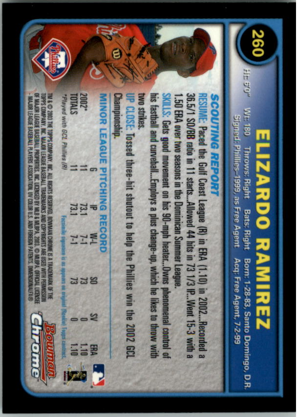 2003 Bowman Chrome #260 Elizardo Ramirez RC back image
