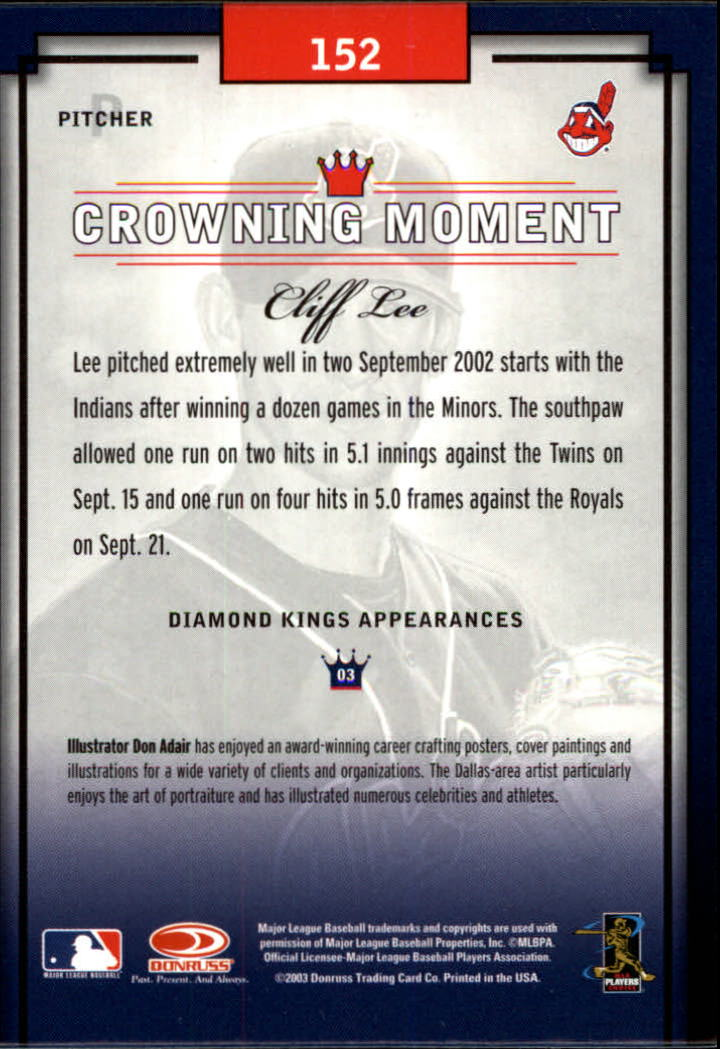 2003 Diamond Kings Bronze Foil #152 Cliff Lee ROO back image